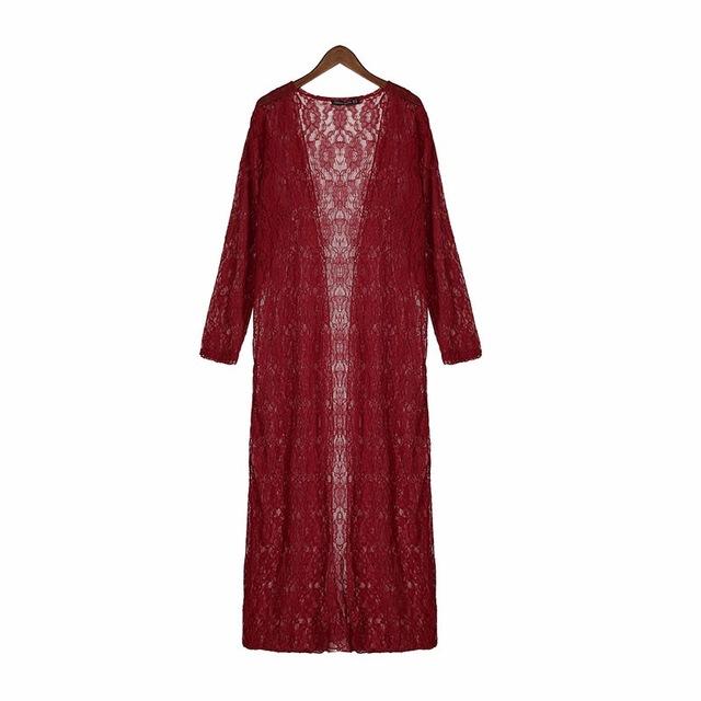 Lace Crochet Blusas Long Sleeve Beach Kimono