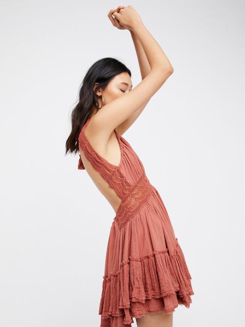 boho pleated princess short dress