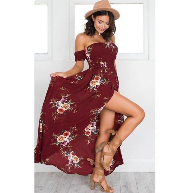 Boho Dress Lady Strapless Off Shoulder Fashion Beach.