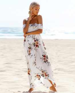 Boho Dress Lady Strapless Off Shoulder Fashion Beach.