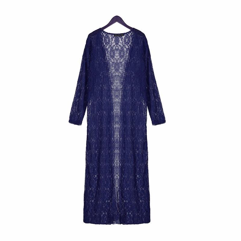 Bohemian Lace Crochet Long Sleeve Beach Kimono.