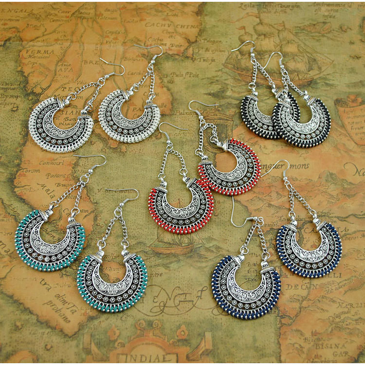 Boho Drop Earrings Jewelry Vintage Silver