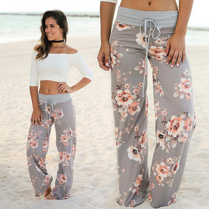 Loose Print Flower Floral Harem Pants