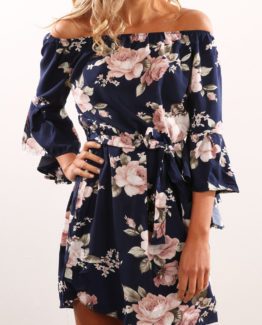 Boho Beach Dress Casual Flare Sleeve