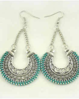 Boho Drop Earrings Green/Silver