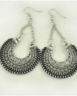 Boho Drop Earrings Black/Silver