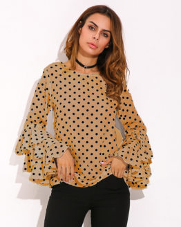 Dot Ruffle Flouncing Long Flare Sleeves