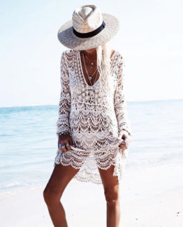 White Handmade Crochet Summer Beach Lace Dress