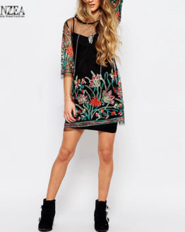Vintage Floral Embroidery Lace Mesh Mini Dress