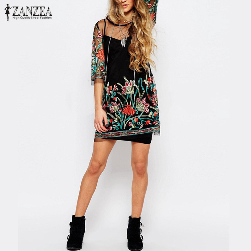 Vintage Floral Embroidery LaceMesh Mini Dress