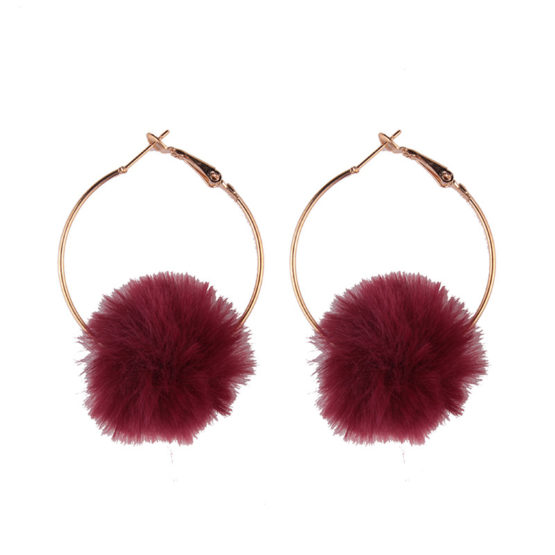 Cotton Ball Hot Drop Earrings Red.