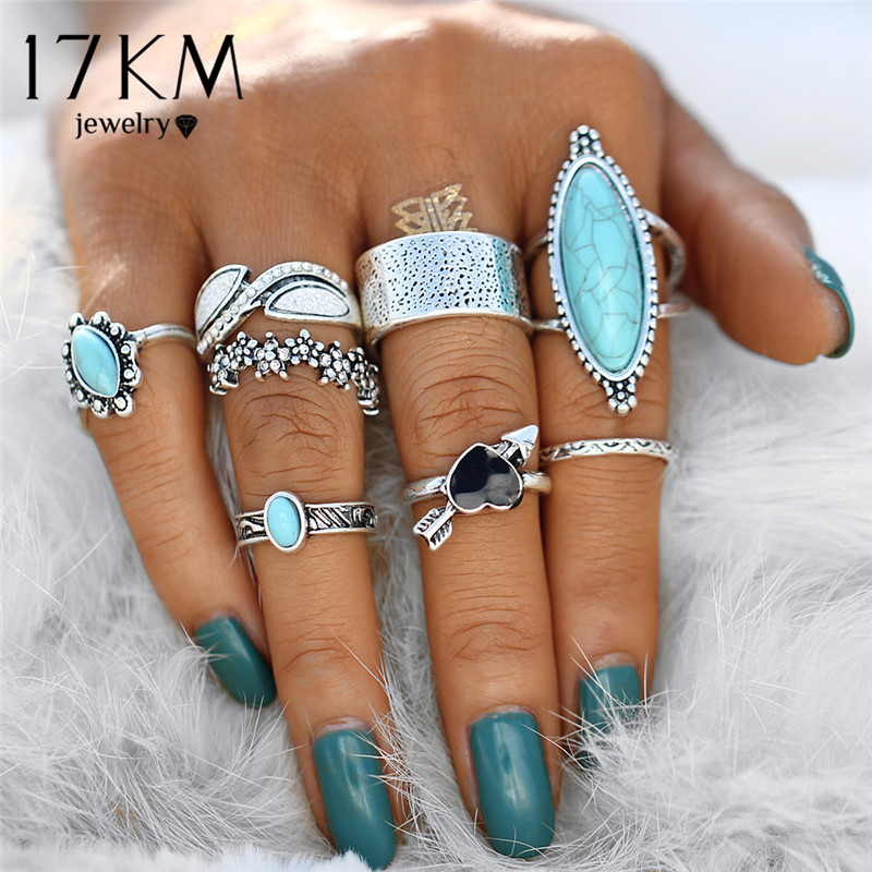 Heart Flower Knuckle Rings Boho