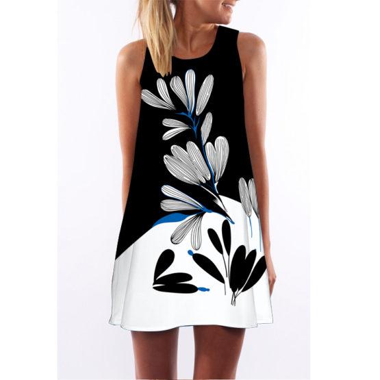 Women Floral Print Chiffon Dress