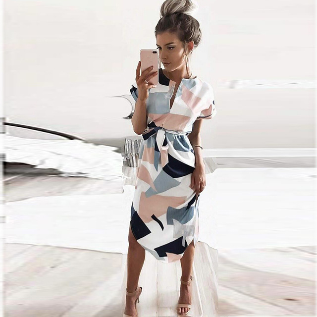 new style 7d4f5 4231b Beach Dress Womens Retro