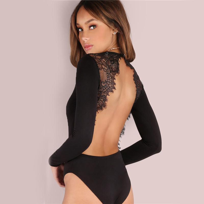 Lace Patchwork Bodysuit Long Sleeve Backless