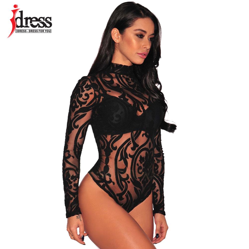 Ladies Bodysuit Top Long Sleeve Romper