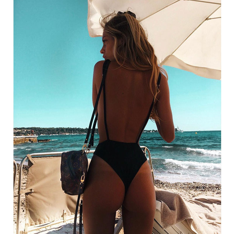 Solid One Piece Thong Swimsuit