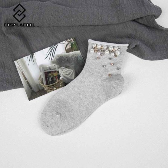 Pearl Gold Silver Handmade Cotton Edge Socks