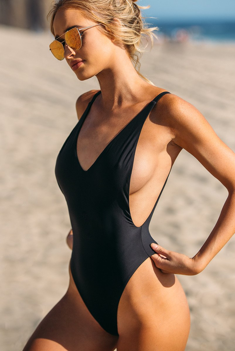 One Piece Swimsuit Deep V