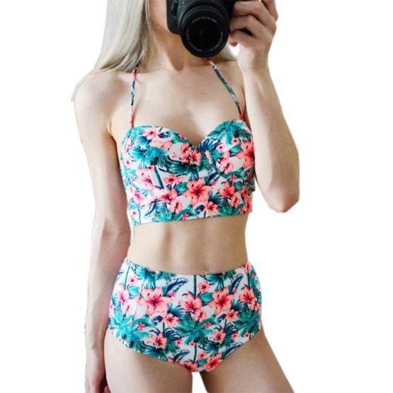 Floral Print High Waist Swimsuit